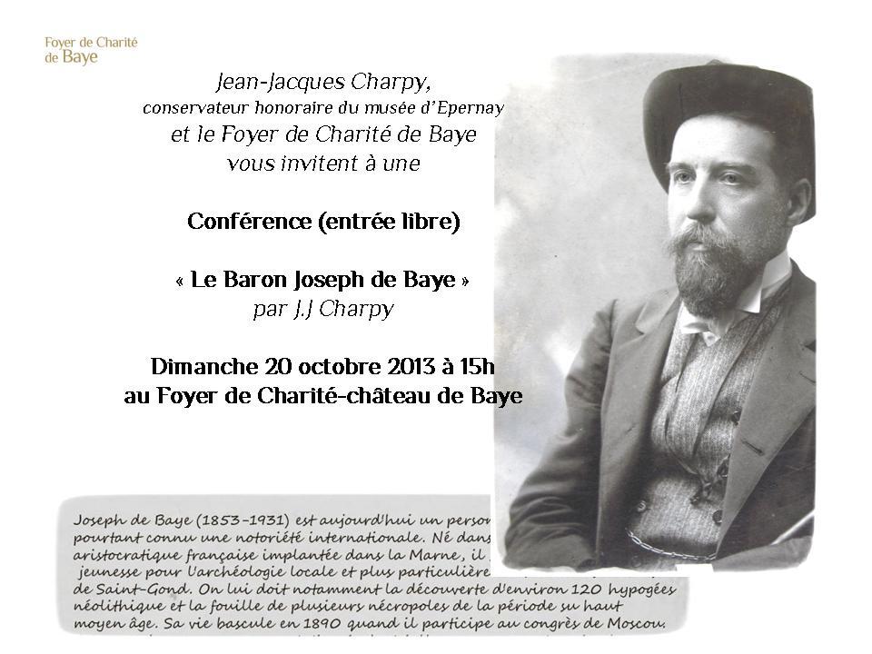 Conférence Joseph de Baye Dimanche 20 octobre 2013 à 15h